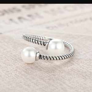 Sterling Silver Open Pearl Ring NWOT